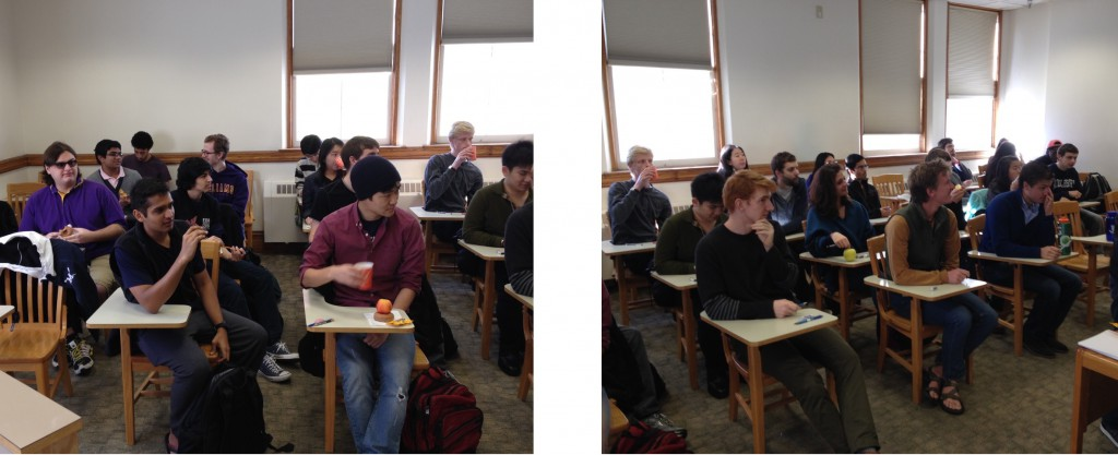 Middlebury had a great turnout with 24 students showing up so combined the two schools filled a classroom.